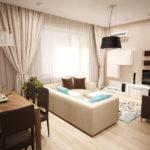 một ví dụ về phong cách sáng sủa của phòng khách ảnh 19-20 m2
