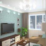 variante d'un décor lumineux d'un salon photo 16 m²