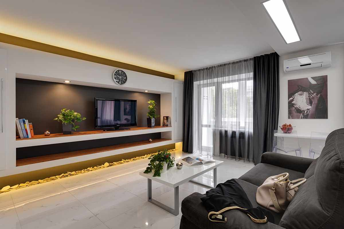 l'idée d'un design lumineux d'un salon de 16 m²