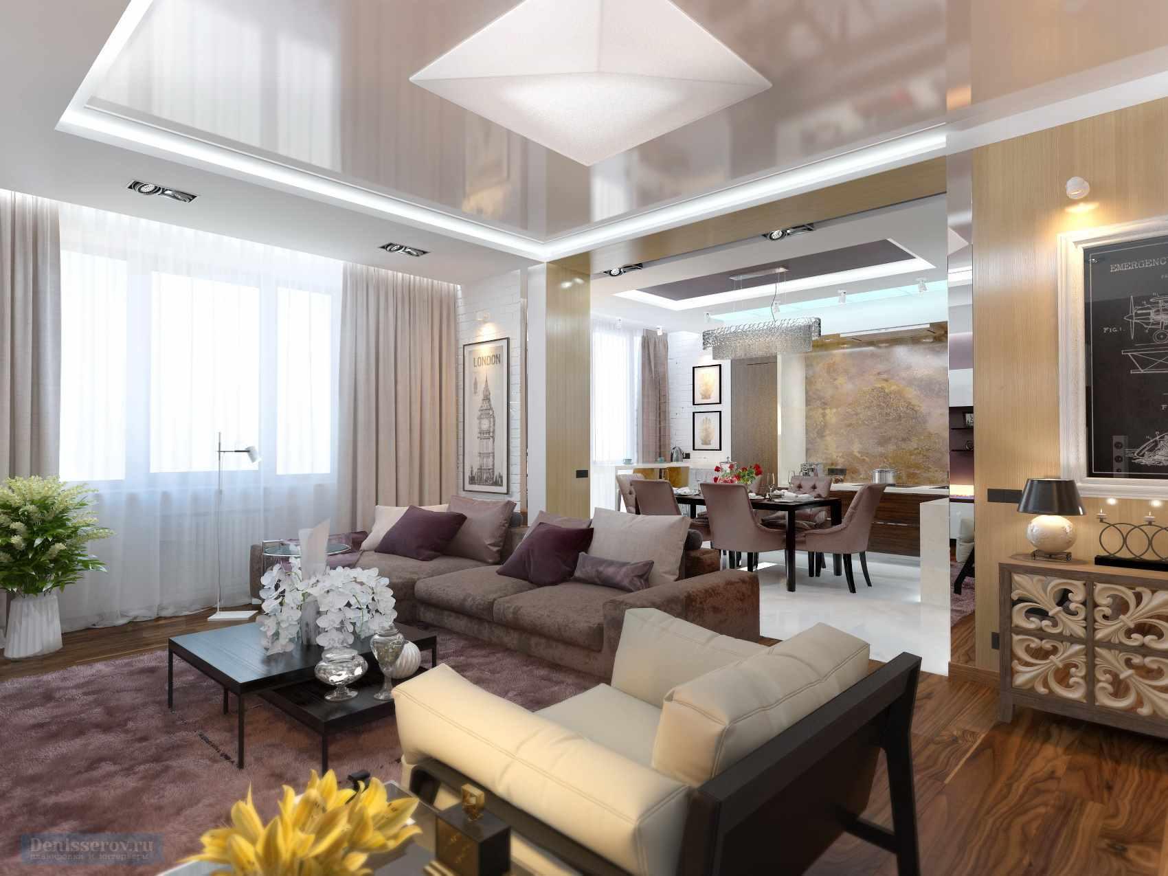 Một ví dụ về thiết kế đẹp của phòng khách 19-20 m2