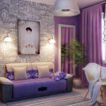 Couleur violette dans la conception d'une pièce d'une jeune fille