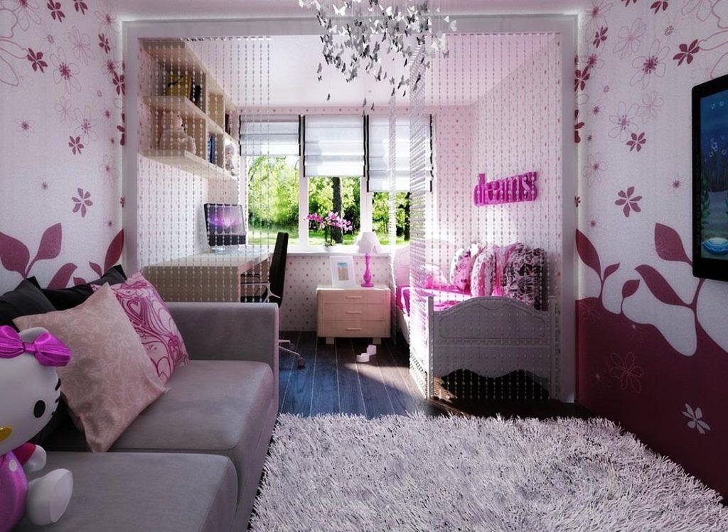 Papier peint en papier avec des fleurs dans la conception d'une chambre pour une fille