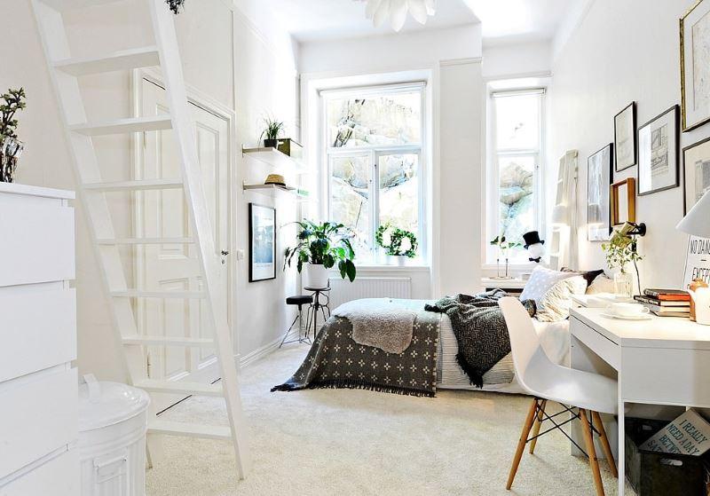 Chambre blanche pour une fille dans le style scandinave