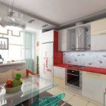 Balconul atașat bucătăriei din interiorul nou
