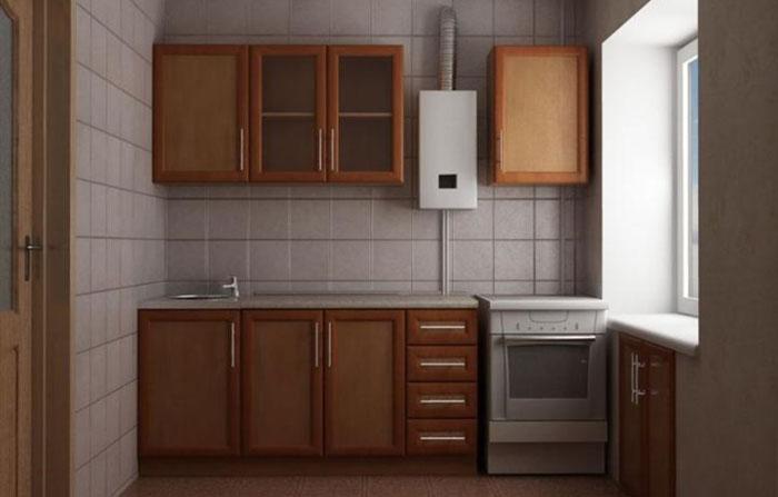 Sobe de gaz alb în bucătărie cu un set maro