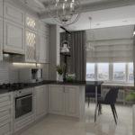 Bucătărie modernă albă combinată cu balcon