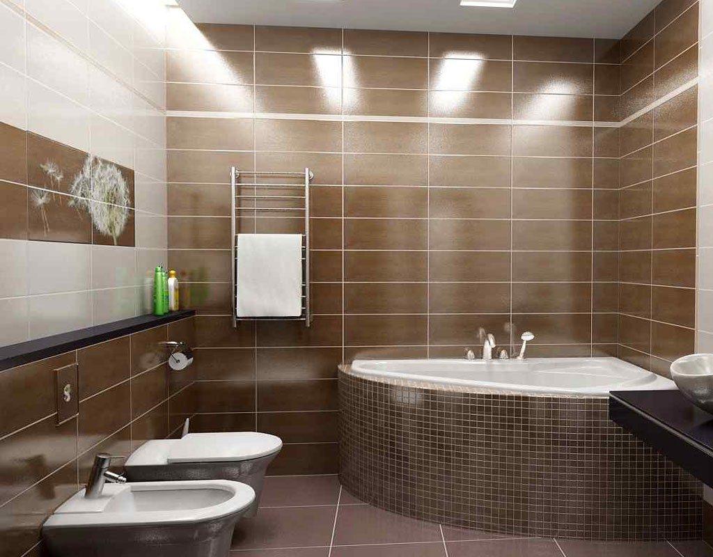 Carrelage brun brillant dans la salle de bain combinée