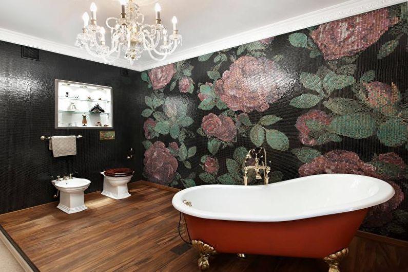 Plancher de bois dans la conception de la salle de bain
