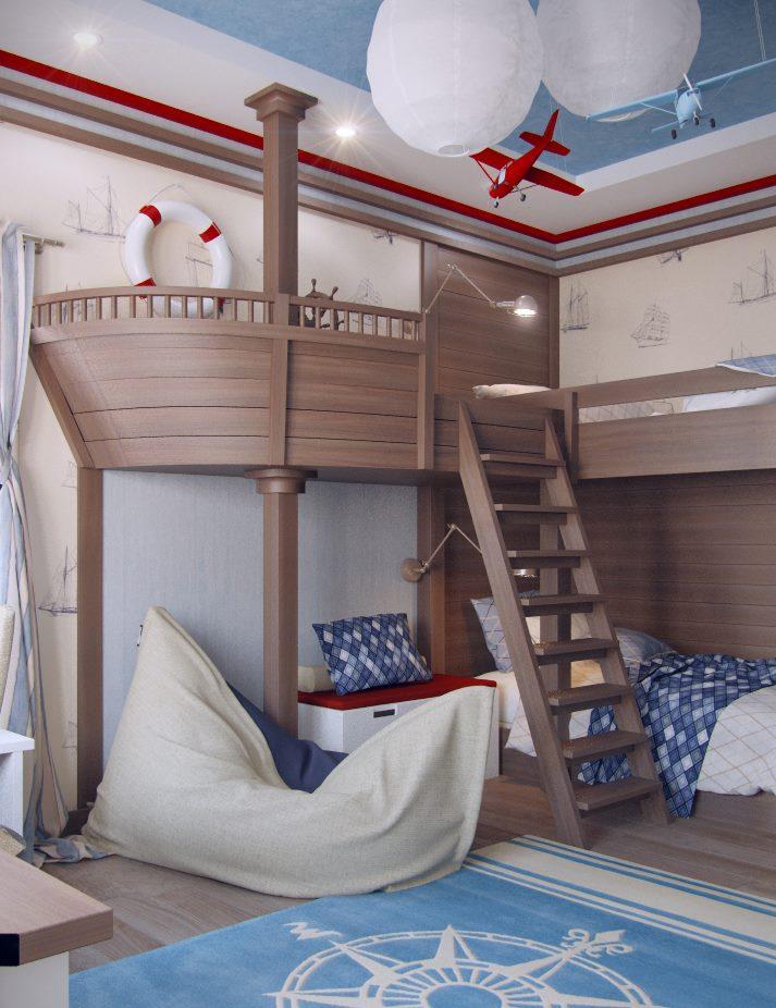 Bed-ship dans la pépinière pour deux garçons