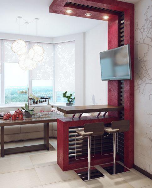 Design de bucătărie cu balcon visiniu