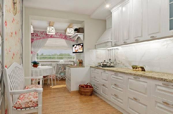 Designul unei bucătării combinate cu un balcon în stilul Provence