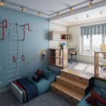 Zonage d'une chambre d'enfant avec podium