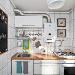 Bucătărie în stil industrial în alb