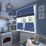 Perdele ușoare pe fereastra bucătăriei în stilul provencei