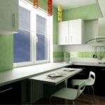 Combinația de alb, verde și negru în bucătărie