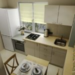 Interiorul unei mici bucătării în culori pastelate
