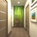 Papiers peints au bout d'un couloir étroit