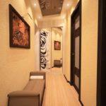 Mur de couloir avec papier peint texturé