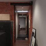Murs de briques dans un couloir de style industriel