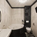 Salle de bain combinée avec baignoire d'angle