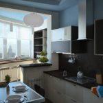Interior interesant al unei bucătării moderne după creșterea spațiului
