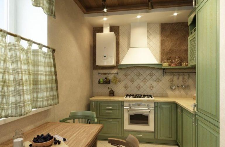 Interiorul bucătăriei în stil Provence, cu încălzitor cu apă