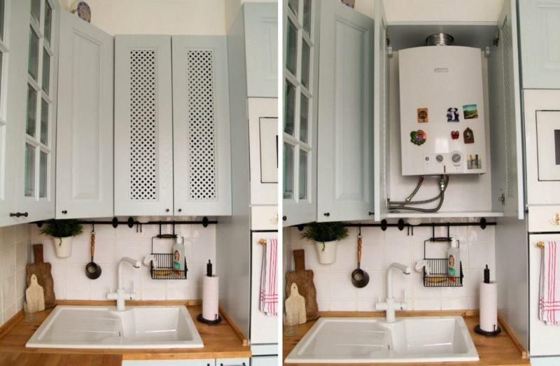 Un exemplu de instalare a unui gheiser într-un dulap de bucătărie