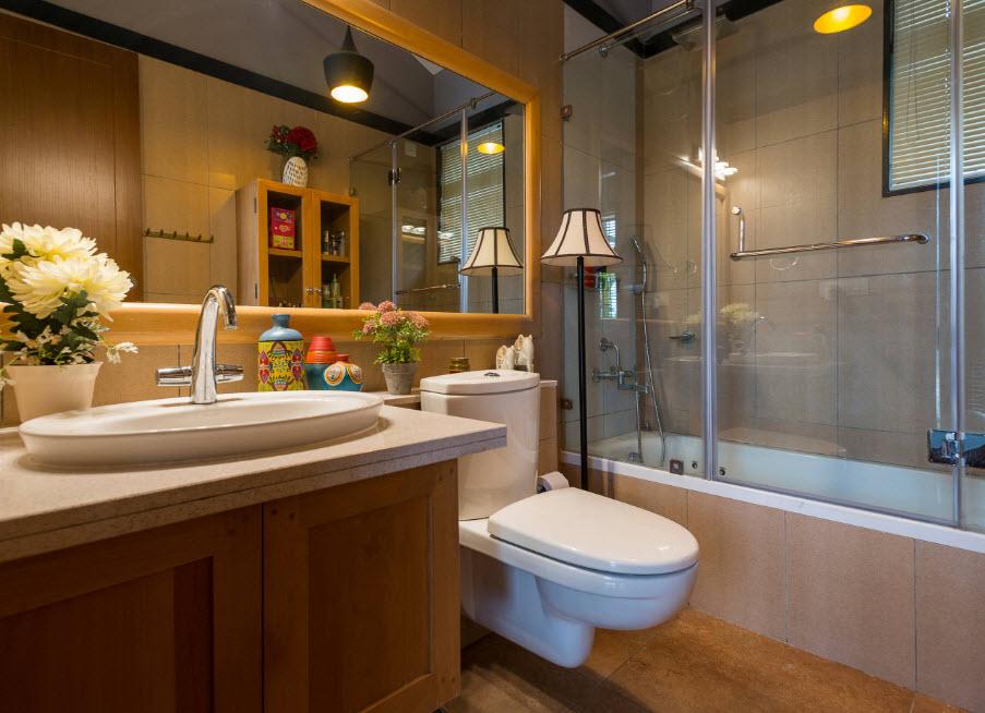 Marron dans la conception de la salle de bain
