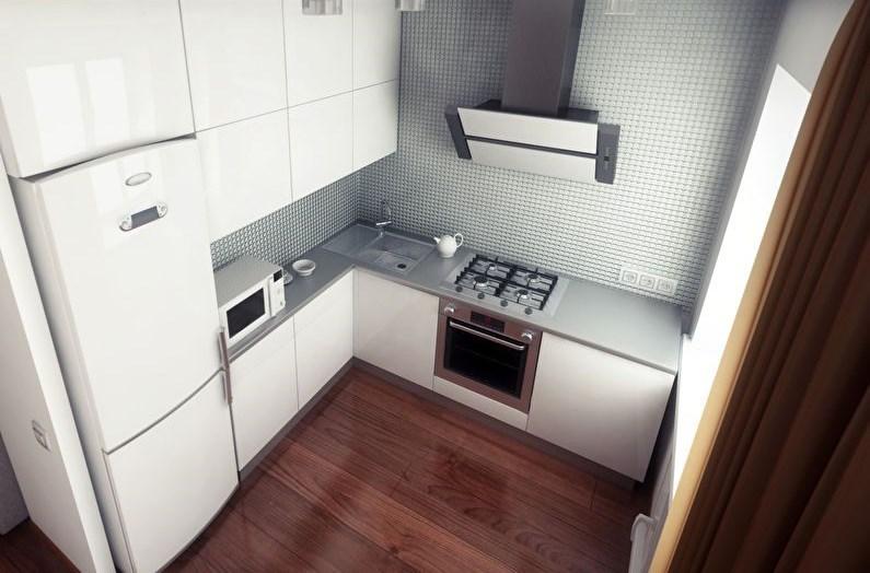 Proiectarea unei bucătării moderne cu fațade lucioase ale unui set de mobilier