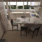 Bucătărie pe balcon pentru a economisi spațiu într-un apartament mic