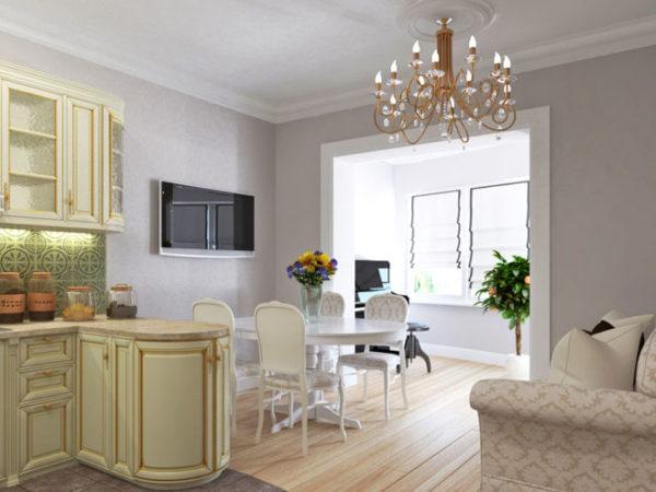 Bucătărie în stil clasic, cu balcon