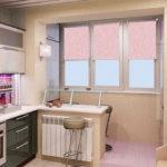 Bucătărie cu loggie după reparație și transformare