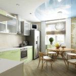 Bucătărie combinată cu un balcon într-un design interesant