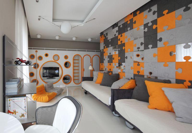 Décoration murale de style Lego dans la chambre de deux garçons