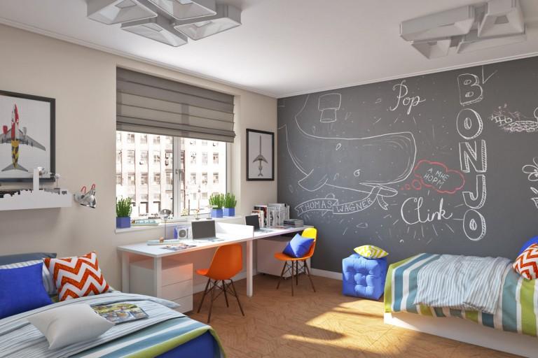 Organisation d'un lieu d'étude devant une fenêtre de chambre d'enfant