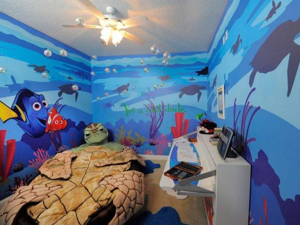 Fond d'écran dans la pépinière basé sur le dessin animé Finding Nemo