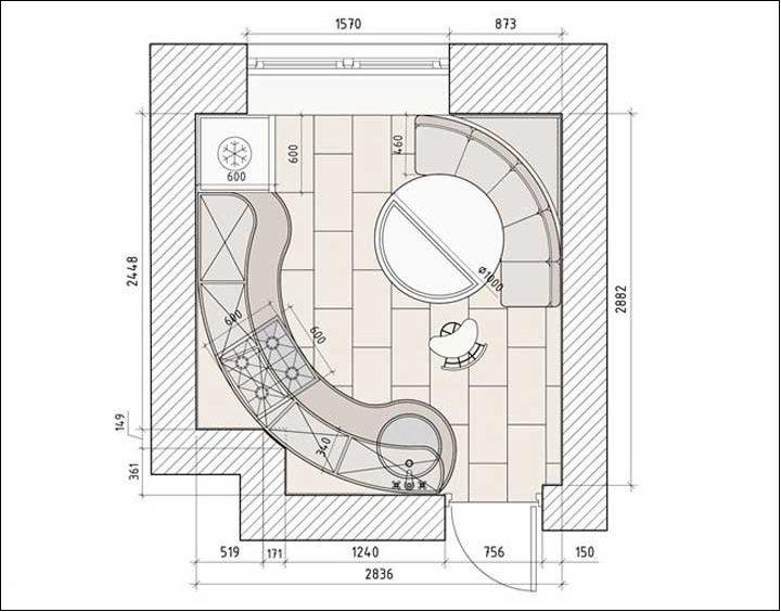 Dispunerea unei bucătării pătrate cu o suprafață de aproximativ 9 metri pătrați