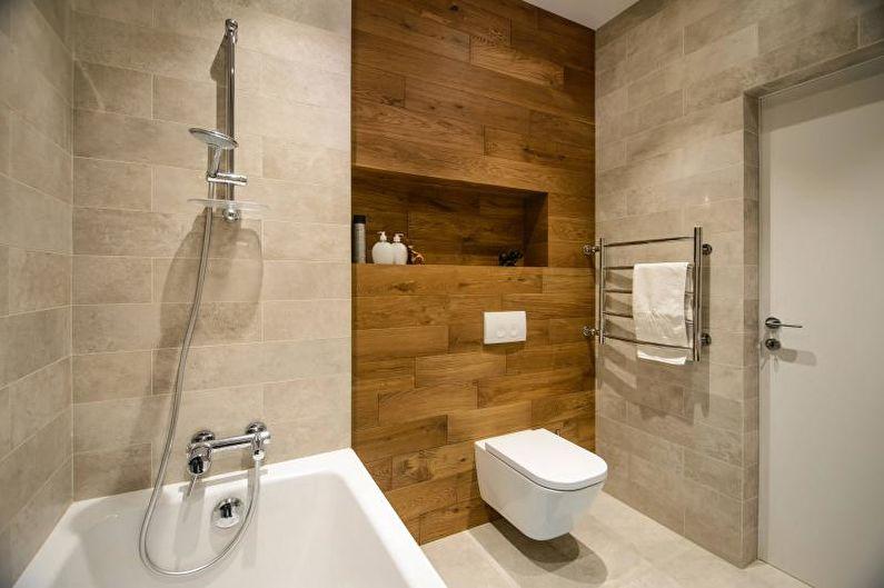 Décoration de faux murs dans la salle de bain en bois naturel