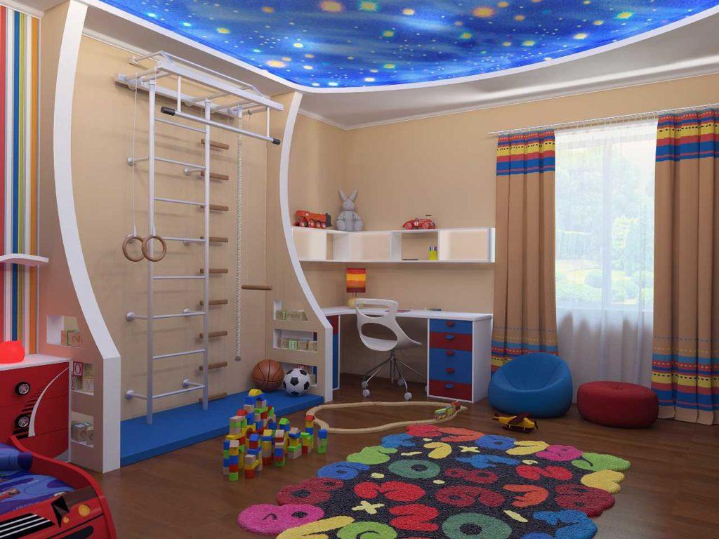 Le plafond de la chambre des enfants avec l'image de l'espace
