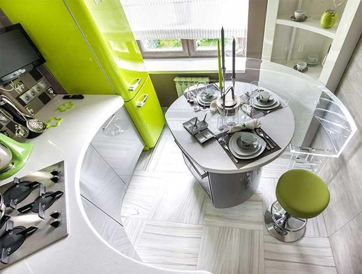Interiorul unei bucătării moderne în stil futurist