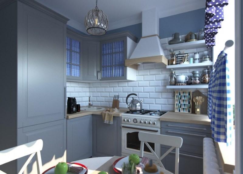 Interiorul bucătăriei în stil Provence, cu predominanță de nuanțe gri și albastru
