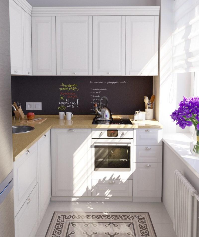 Podea ceramică în bucătărie cu un set alb