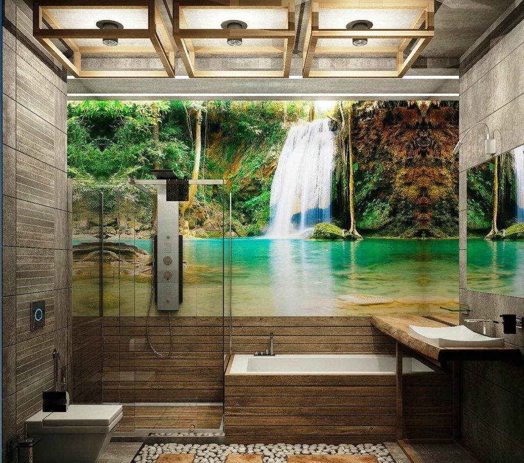 Murale sur le mur de la salle de bain