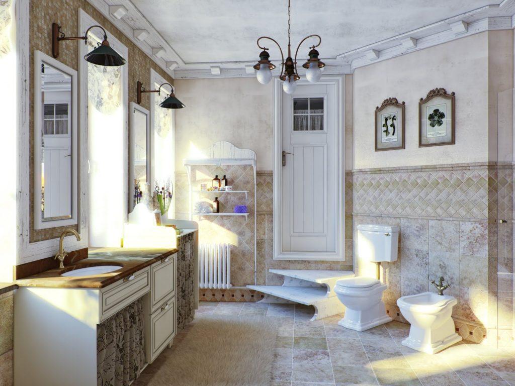 Lustre forgé au plafond de la salle de bain