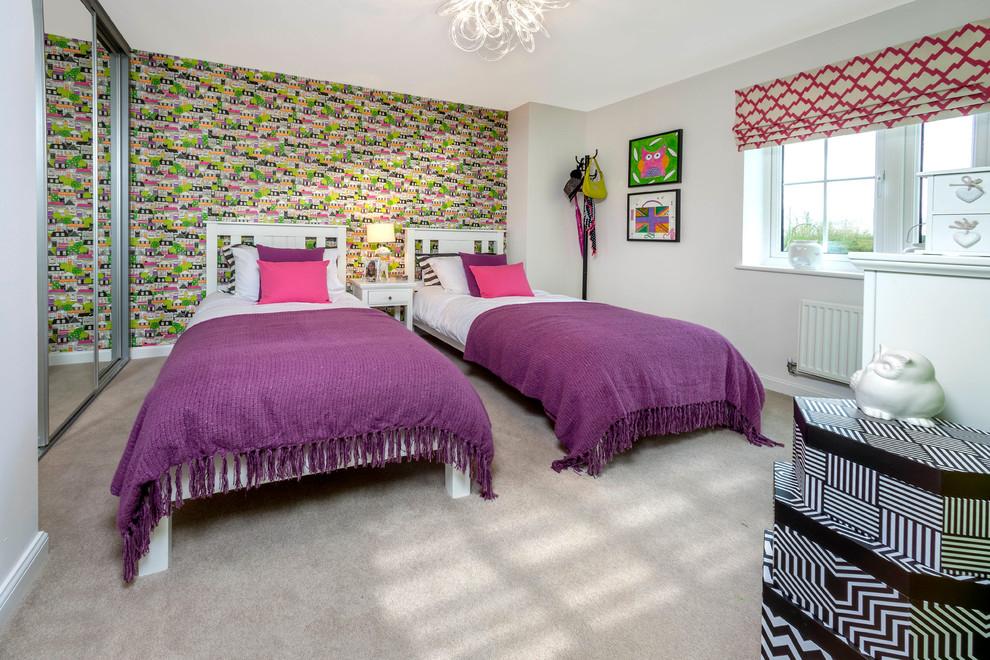 Couvre-lits lilas sur des lits