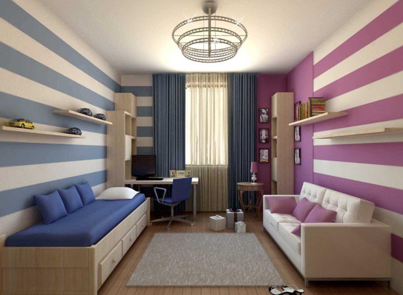 Zonage couleur d'une chambre d'enfant pour deux