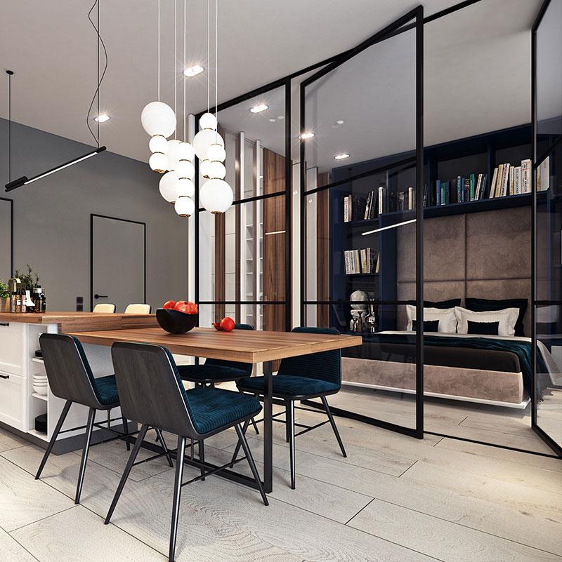 Table à manger en bois dans un studio