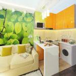 Machine à laver à l'intérieur d'un appartement de type hôtel