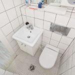 Lavabo carré dans la salle de bain combinée