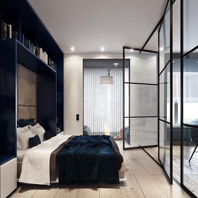 Sections pivotantes de la cloison vitrée de la chambre